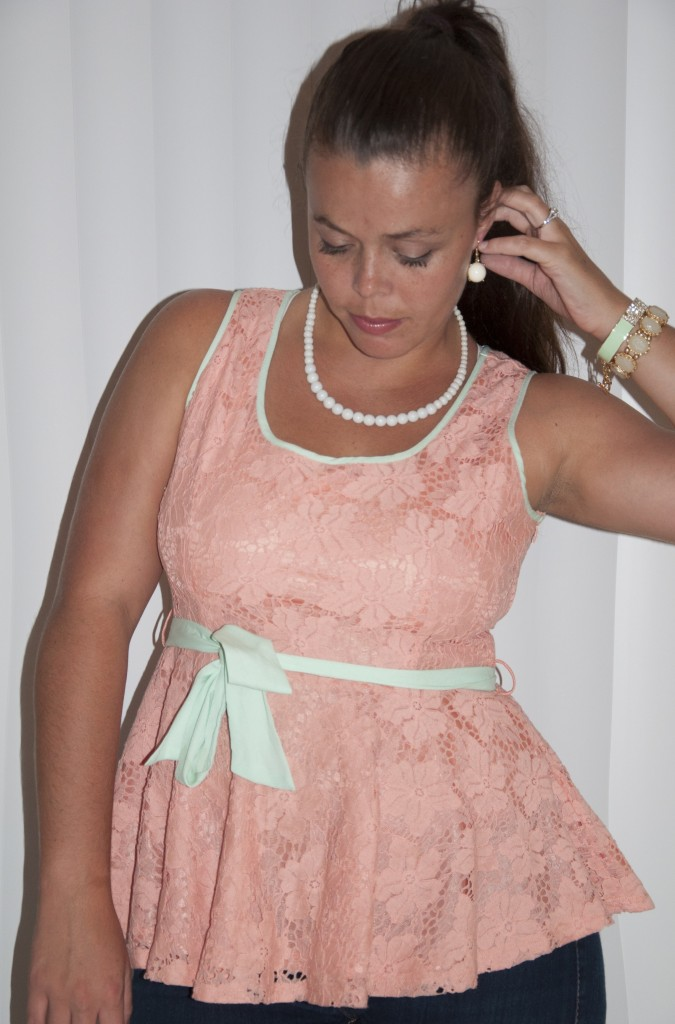 Coral and Mint Peplum