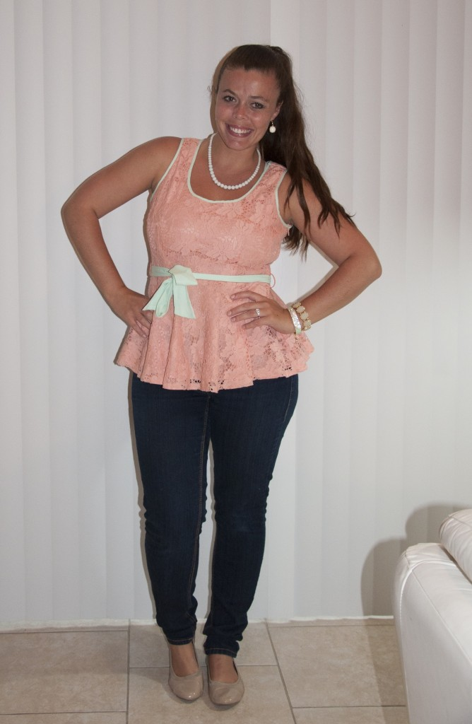 Mint and Coral Peplum