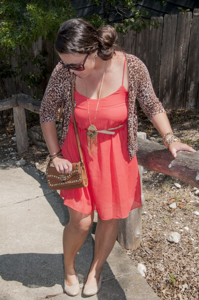 Coral dress with leopard cardigan