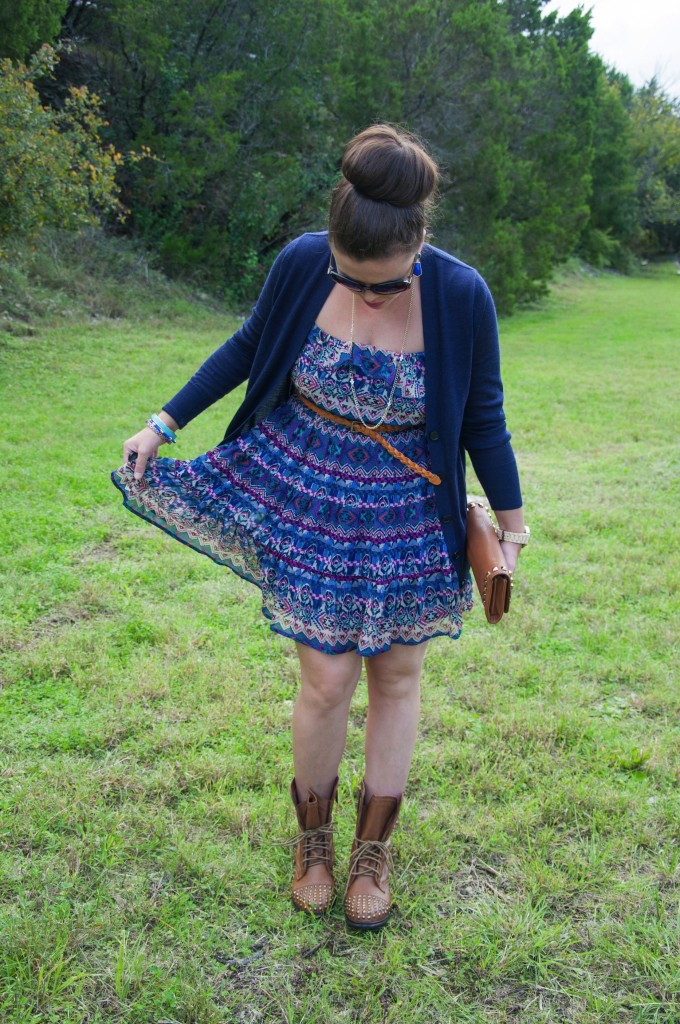 Aztec dress and combat boots