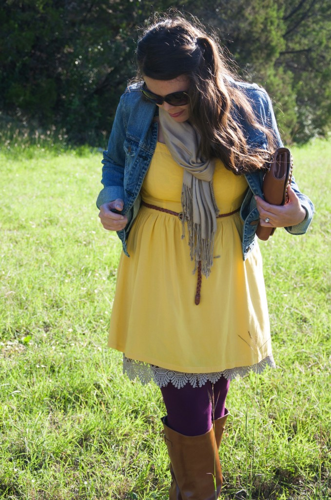 Yellow dress and purple tights