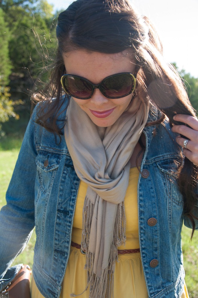 Yellow dress with denim jacket