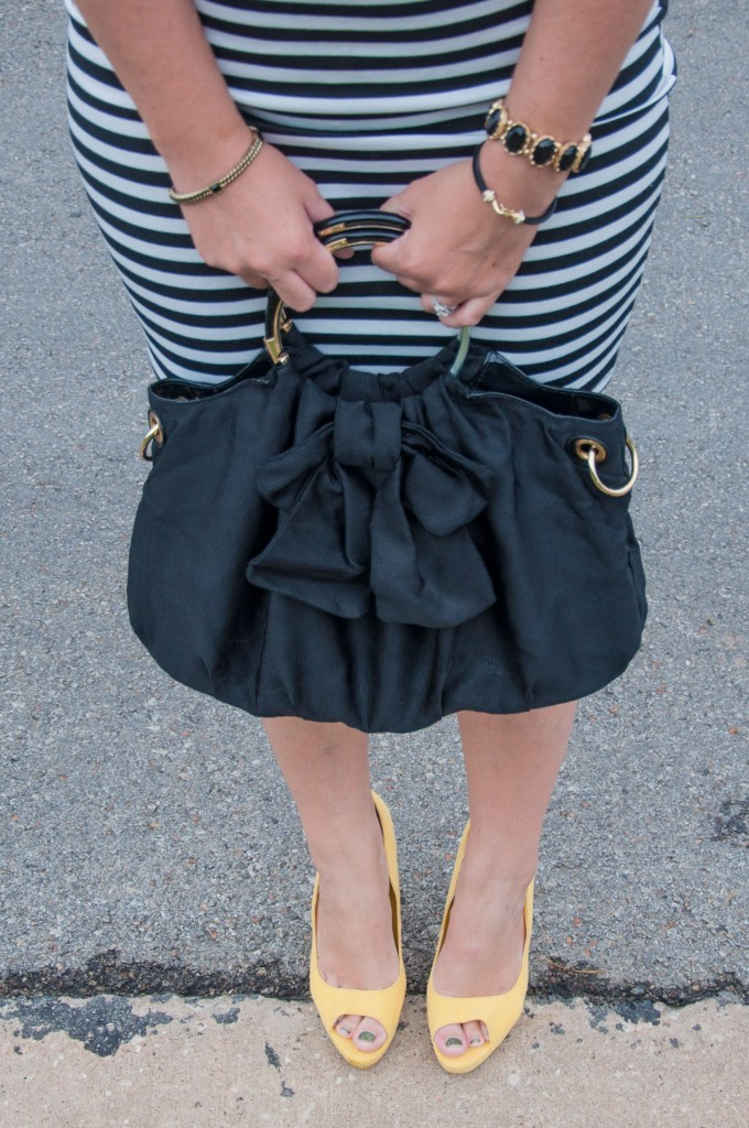 Striped skirt and yellow heels