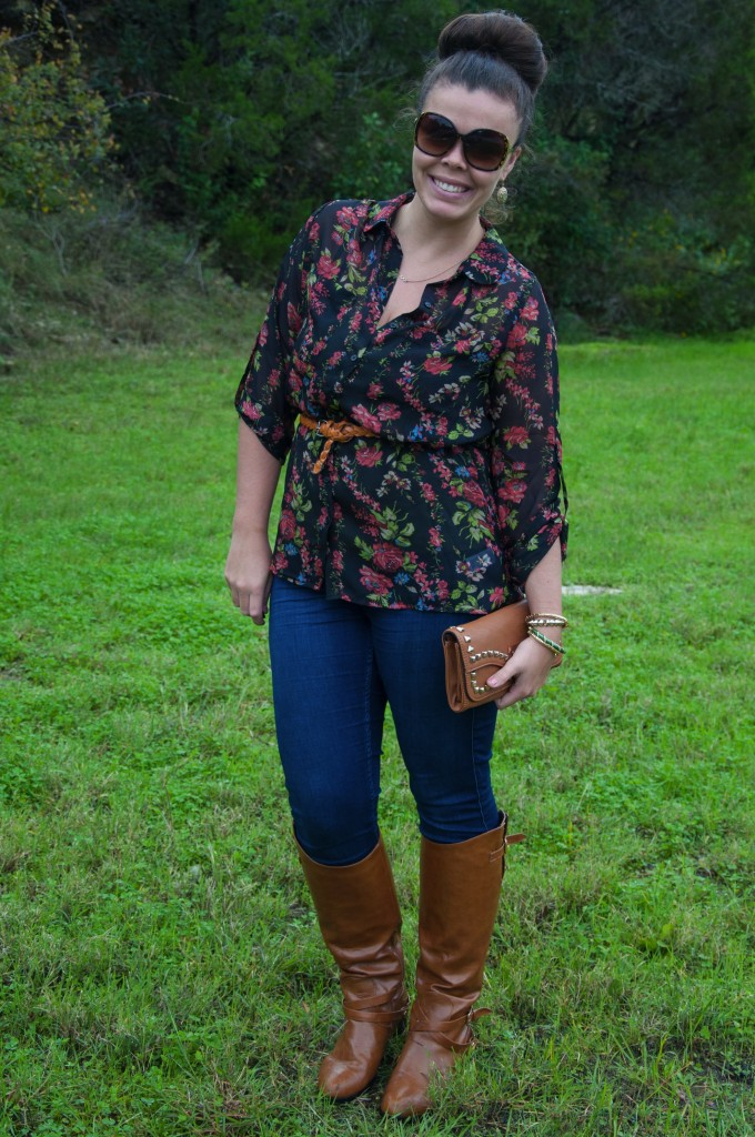 Floral top with cognac boots