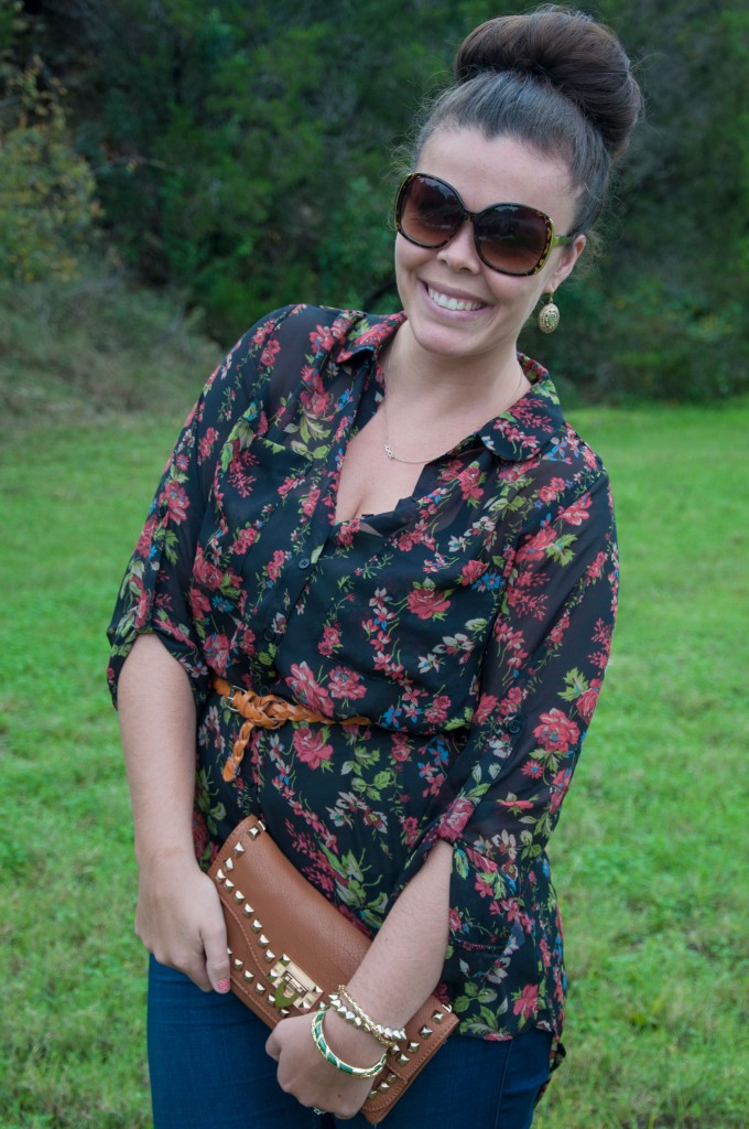 Floral top with cognac clutch