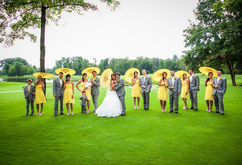 Yello parasols wedding