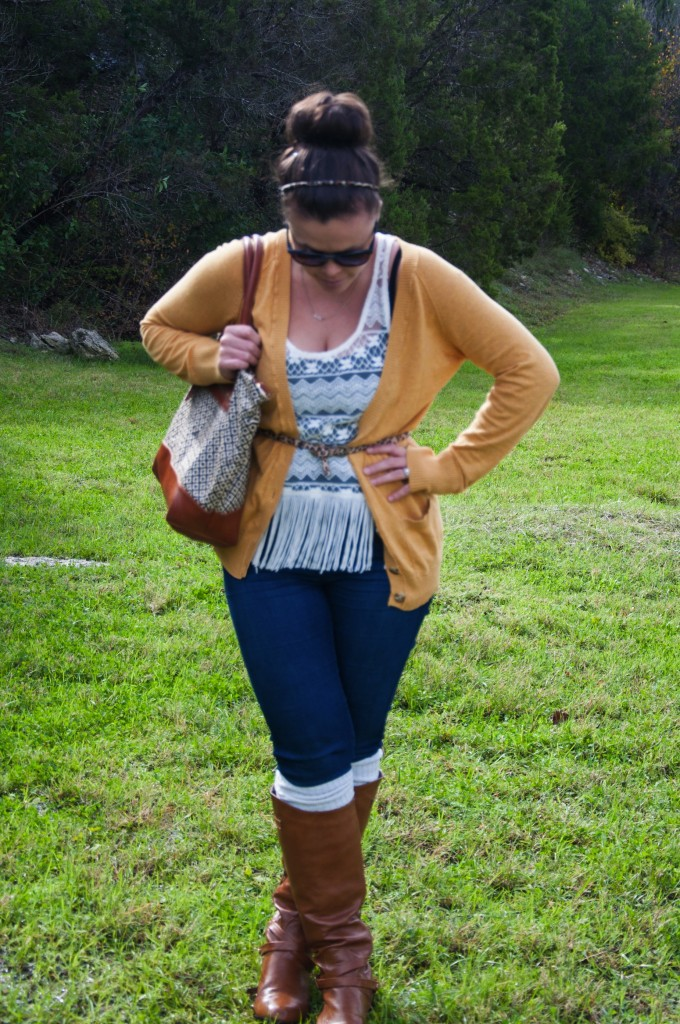 Fringe shirt with a mustard cardigan and boot socks