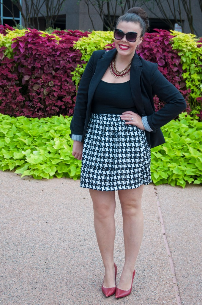 Houndstooth skirt with red heels
