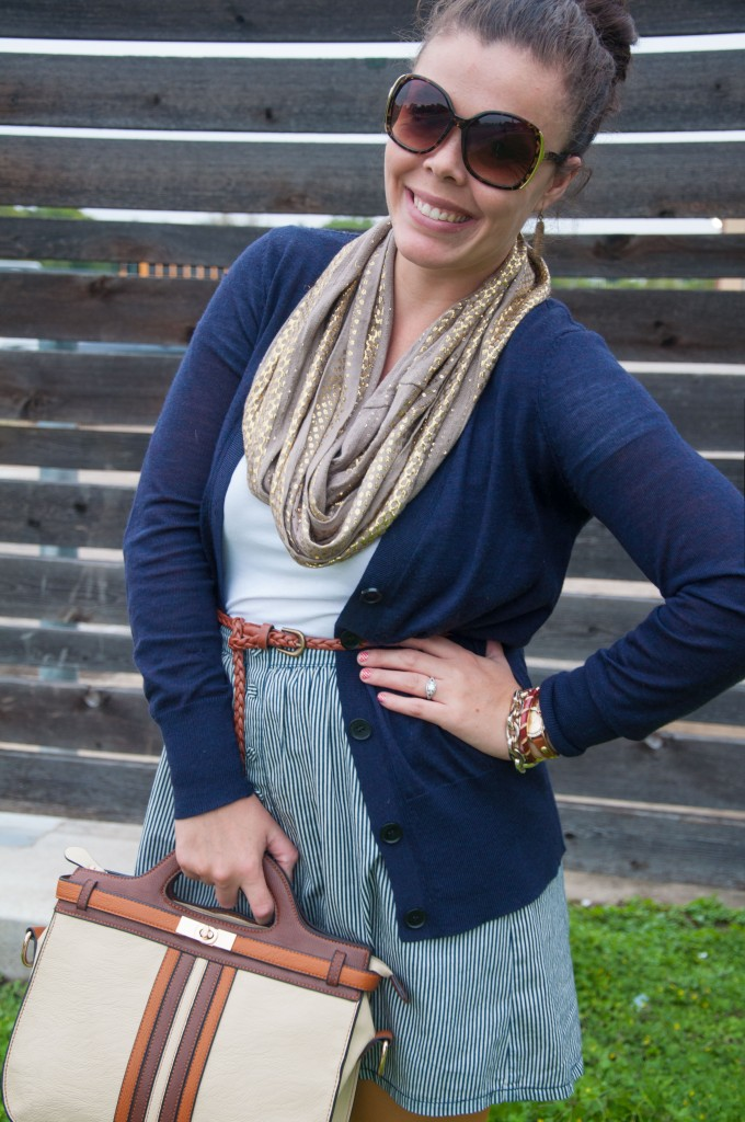 Gold scarf with navy outfit