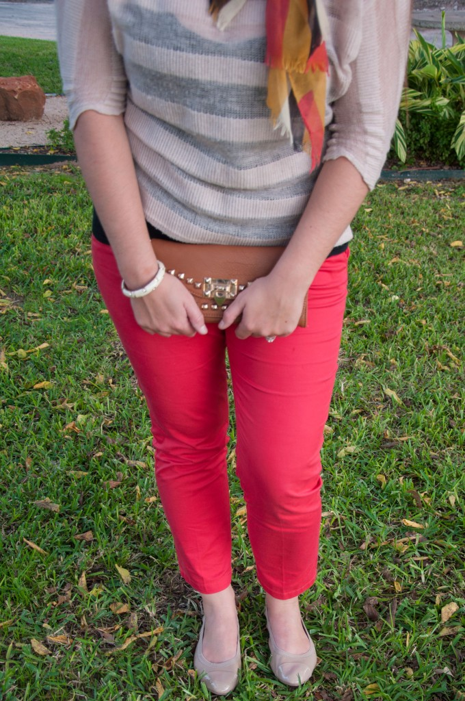 Red Pants and Coral and mustard scarf