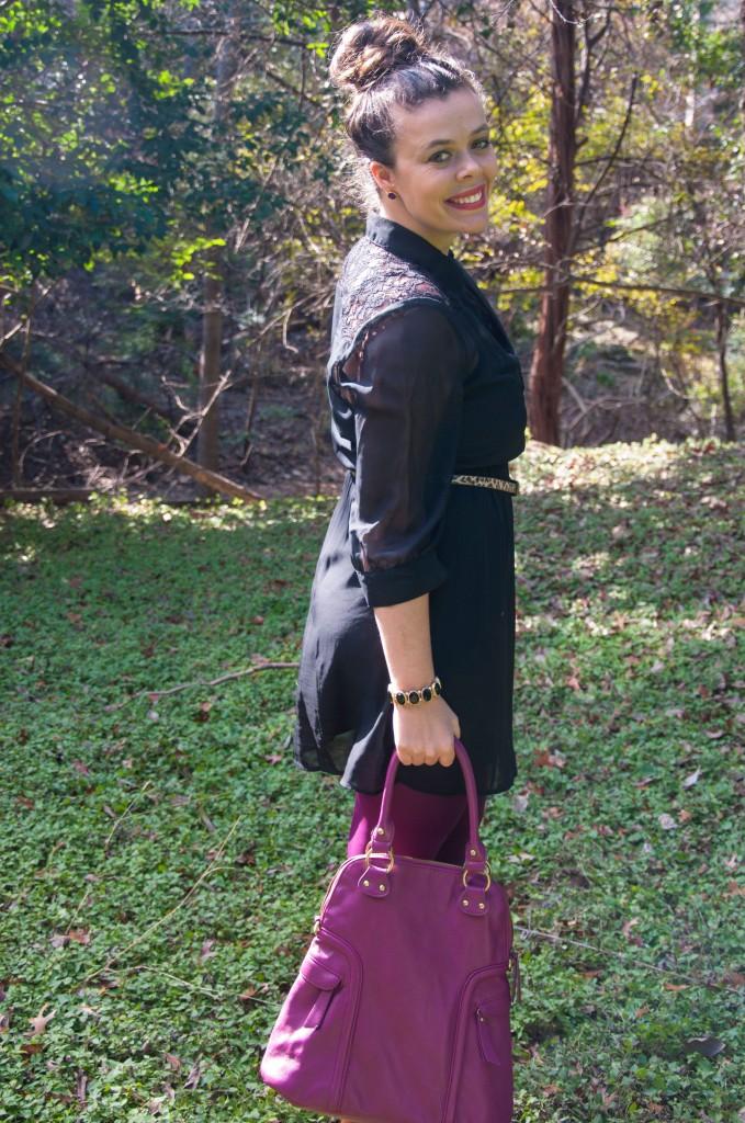 Black dress with purple handbag