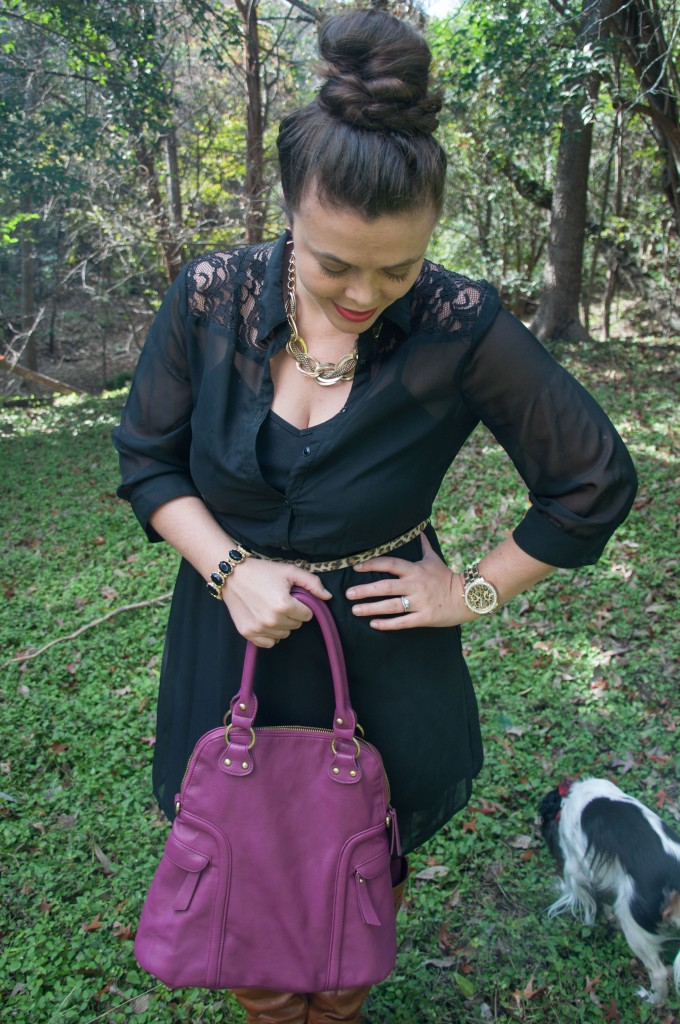 Black dress with purple handbag
