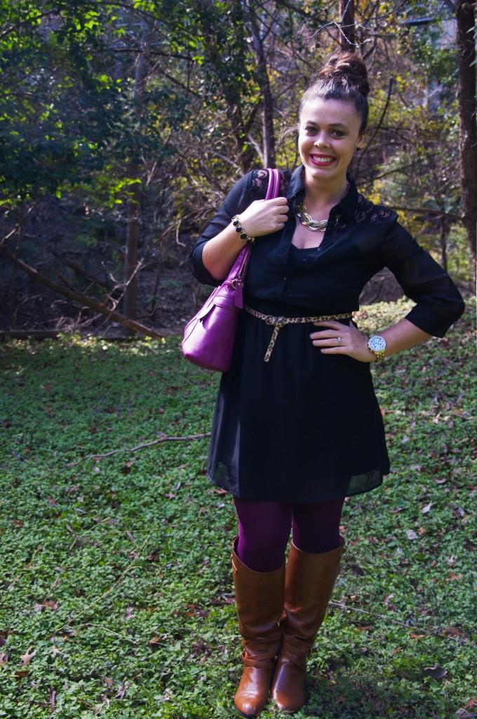 Black dress with purple tights