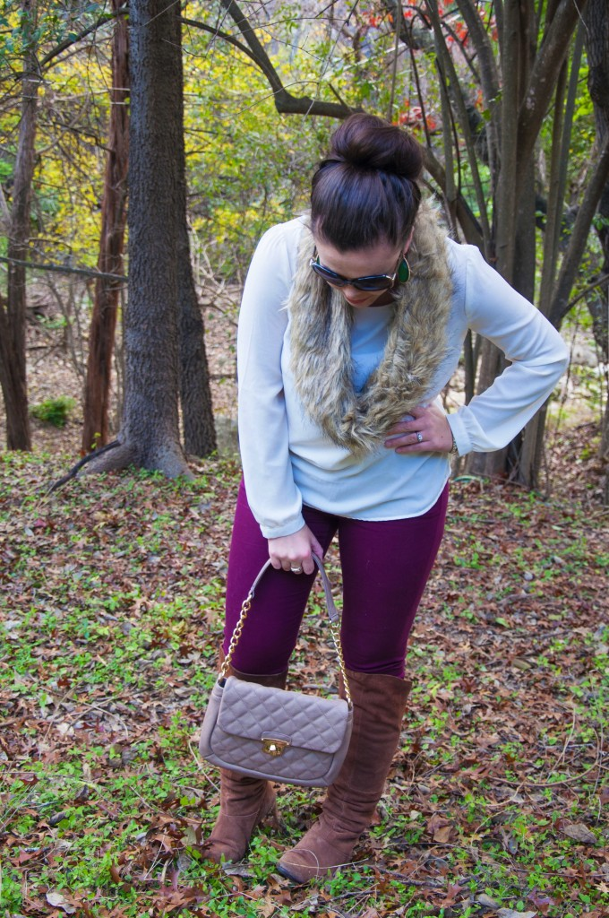 Fur scarf with burgundy pants
