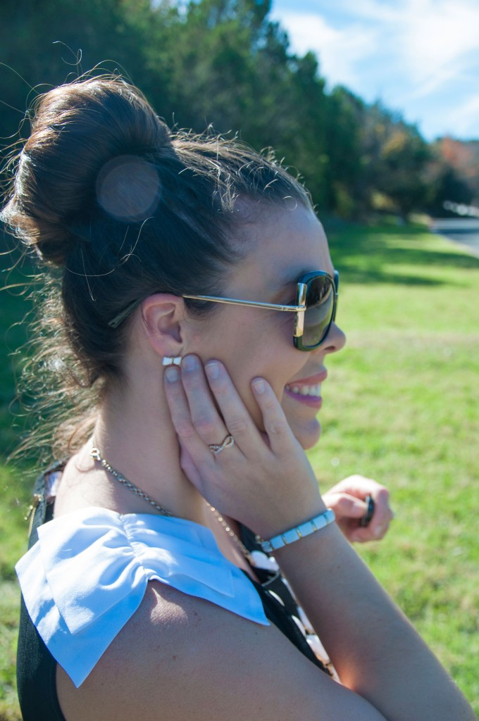 All That Glitters: White bow top with sock bun