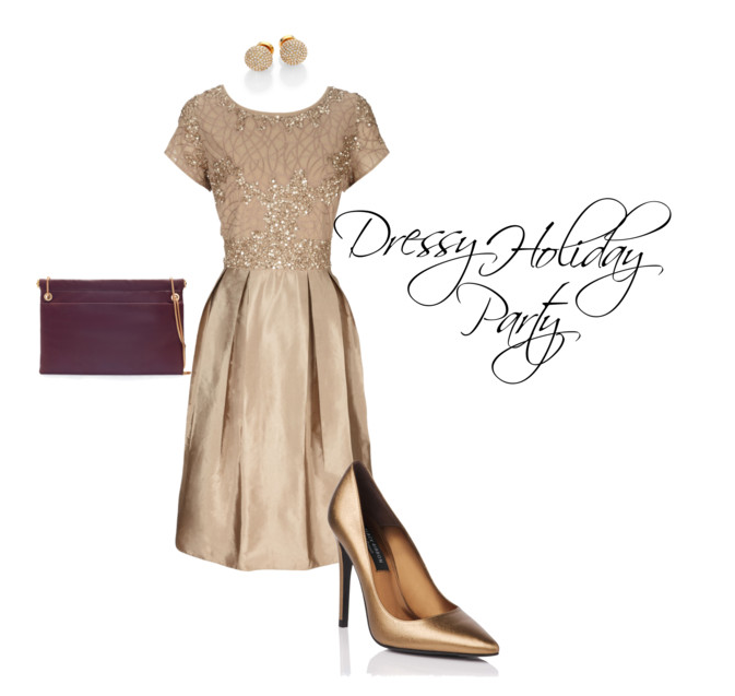 Dressy Holiday Party Outfit-Gold Dress