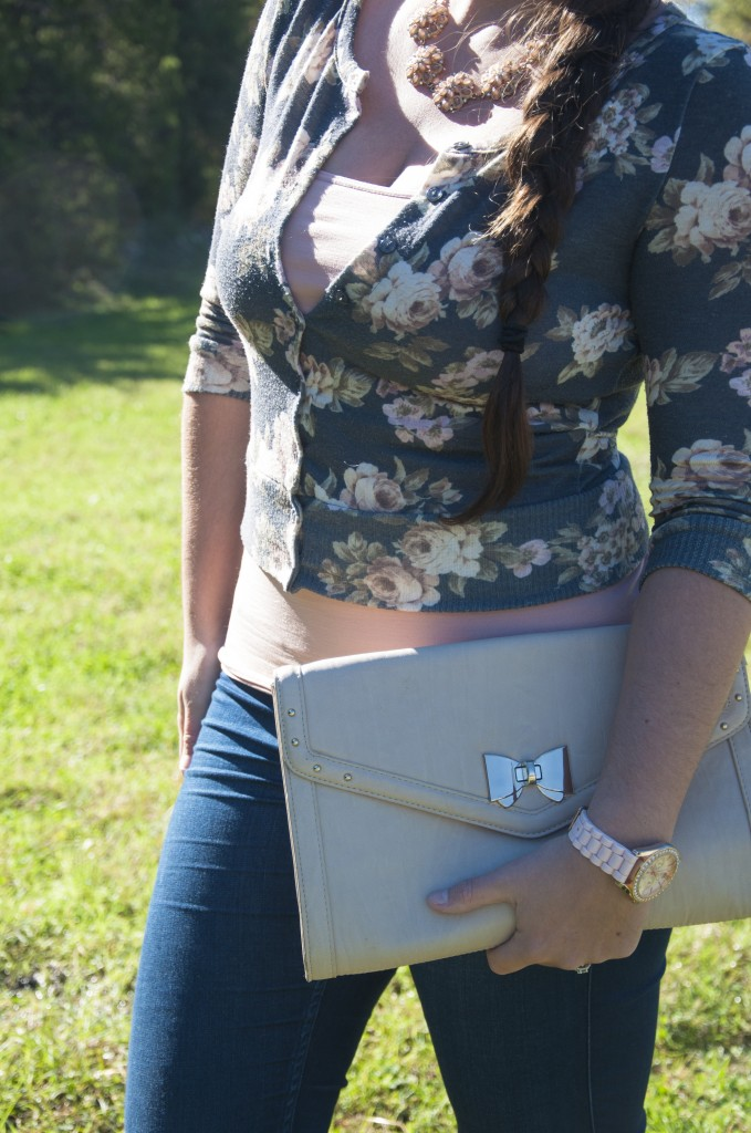 Lovely Floral Cardigan with nude bow clutch