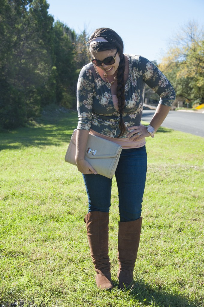 Lovely Floral Cardigan with knee high boots