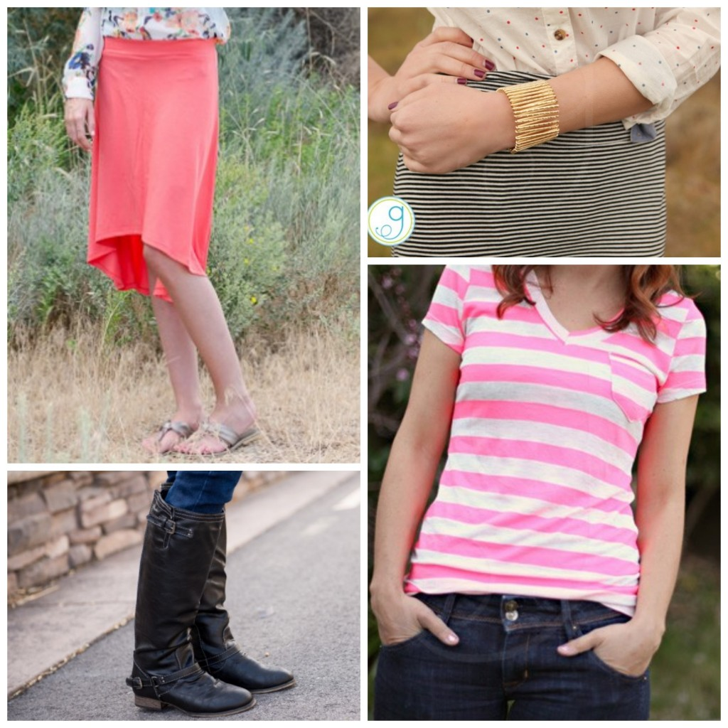 Basic tee skirt and boots