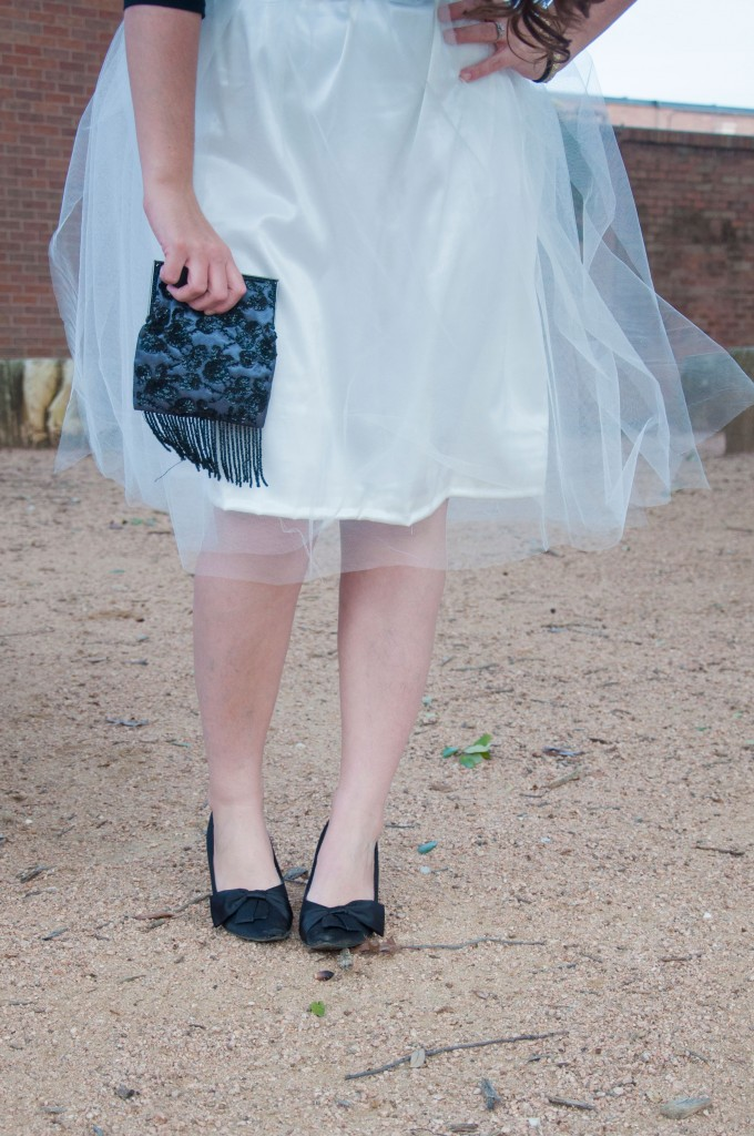 White tulle skirt with black heels