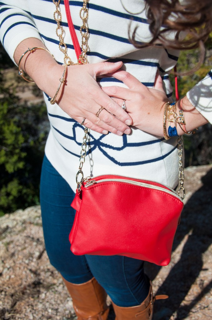 Blue stripes with red crossbody