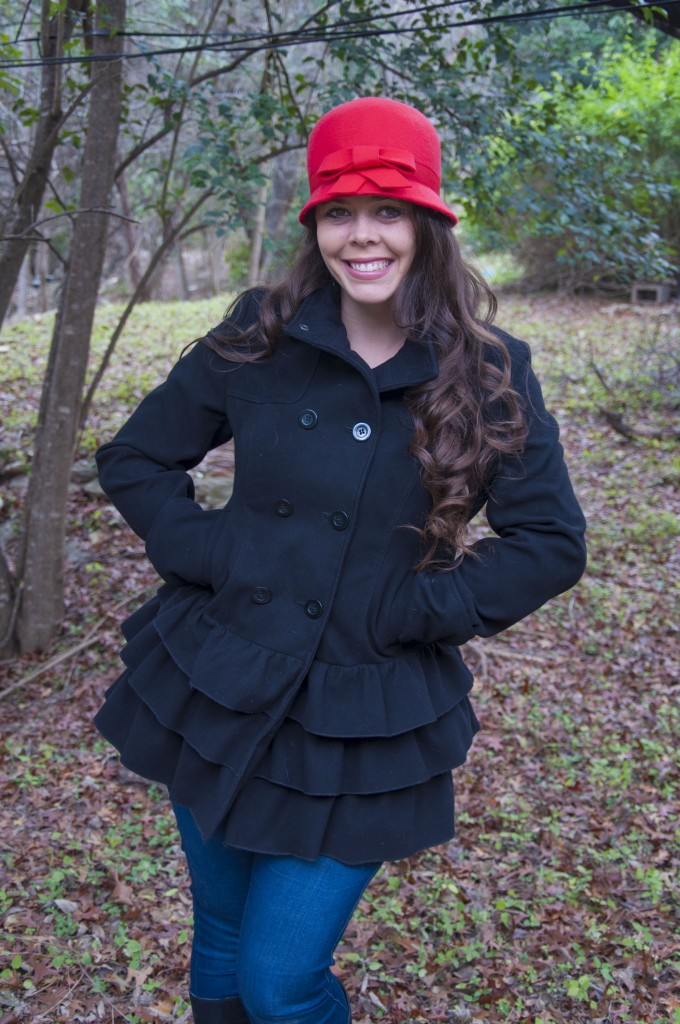 Cute black ruffle jacket with a red felt hat