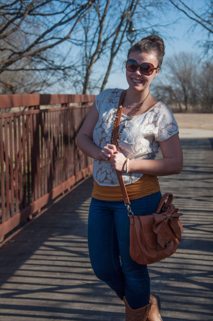 Lace top with a bow handbag
