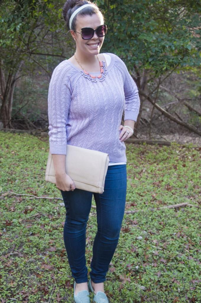 Lavender sweater wirth statement necklace