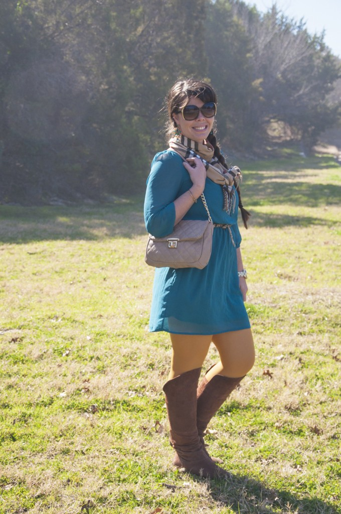 Teal Dress and Mustard Tights