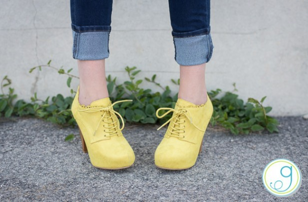 Yellow Scalloped Pumps