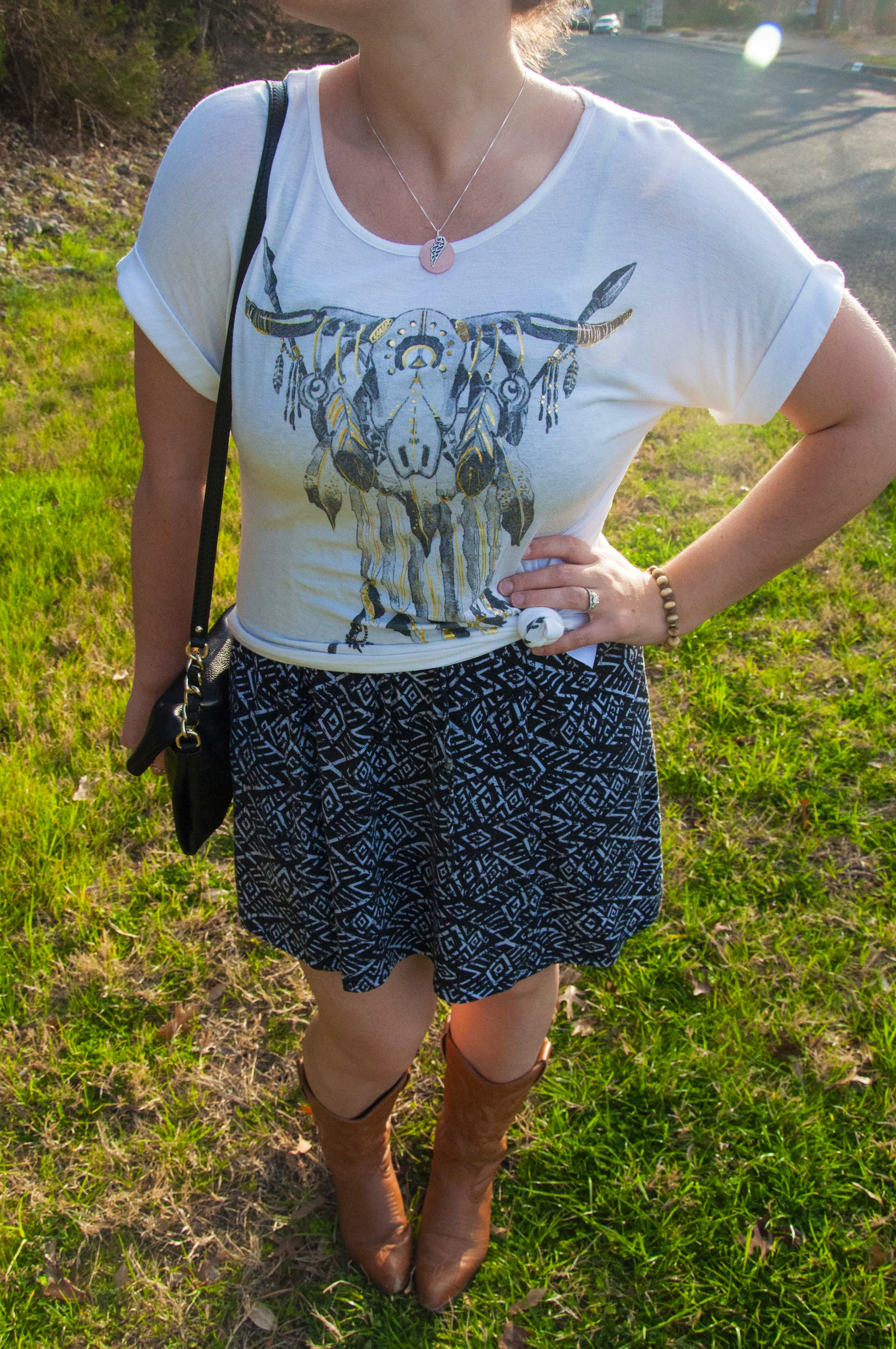 Aztec dress and cowboy boots with southern shirt