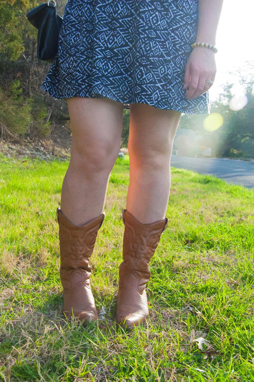 Aztec print and cowboy boots