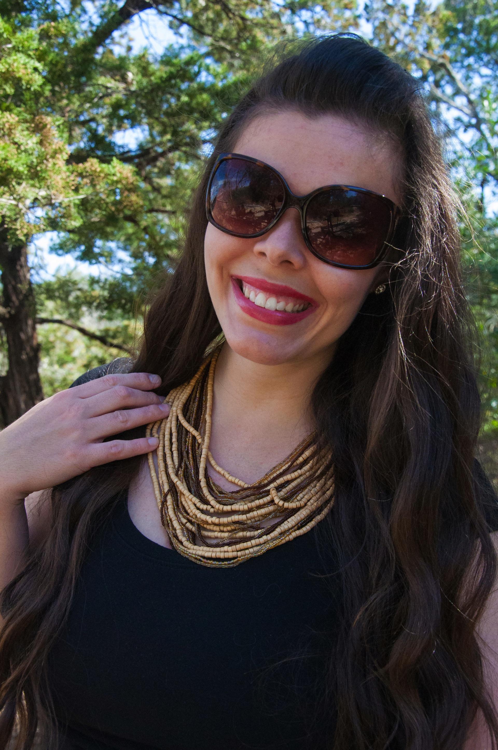Big brown beaded necklace