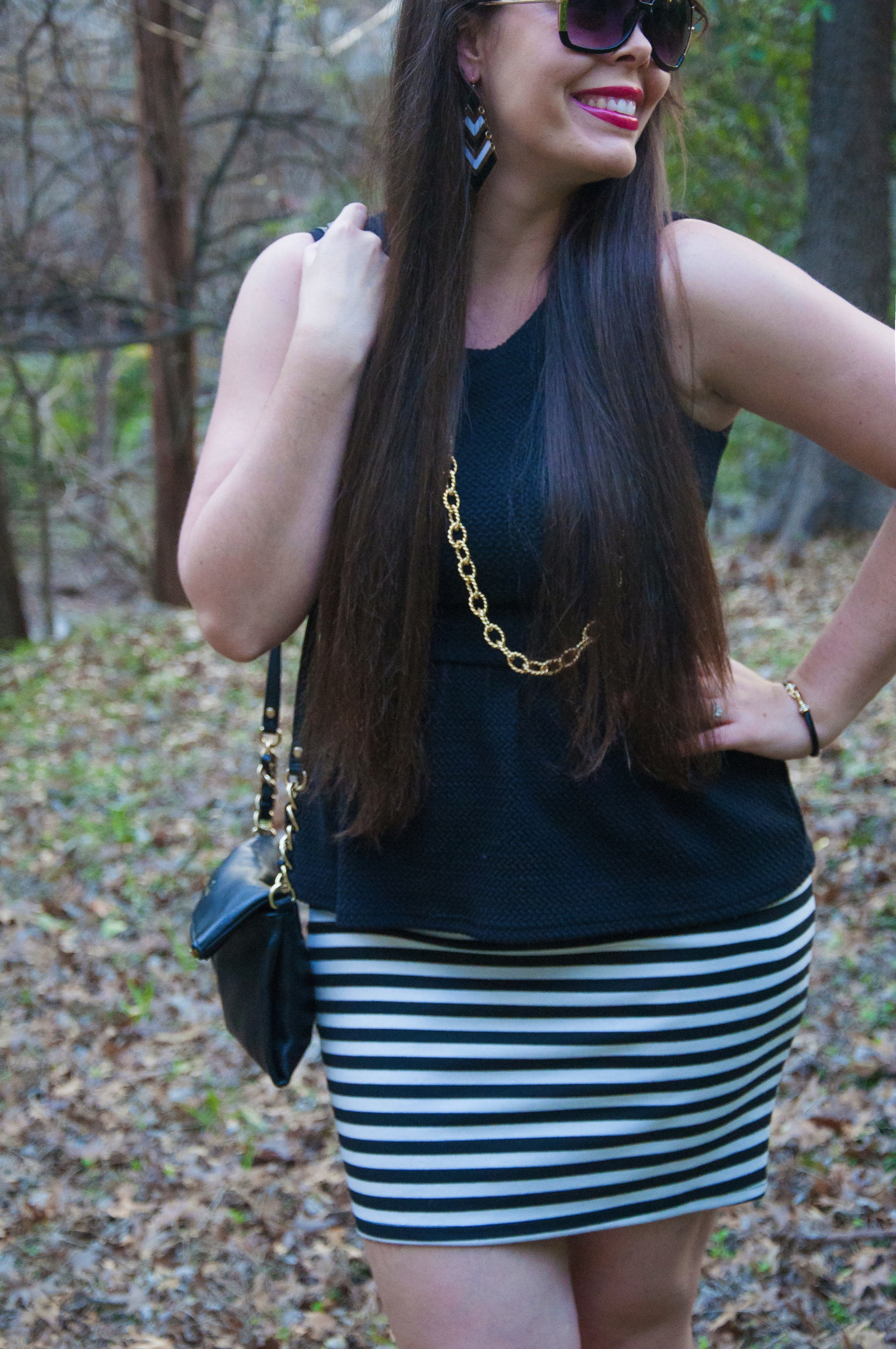 Black and white skirt with peplum top