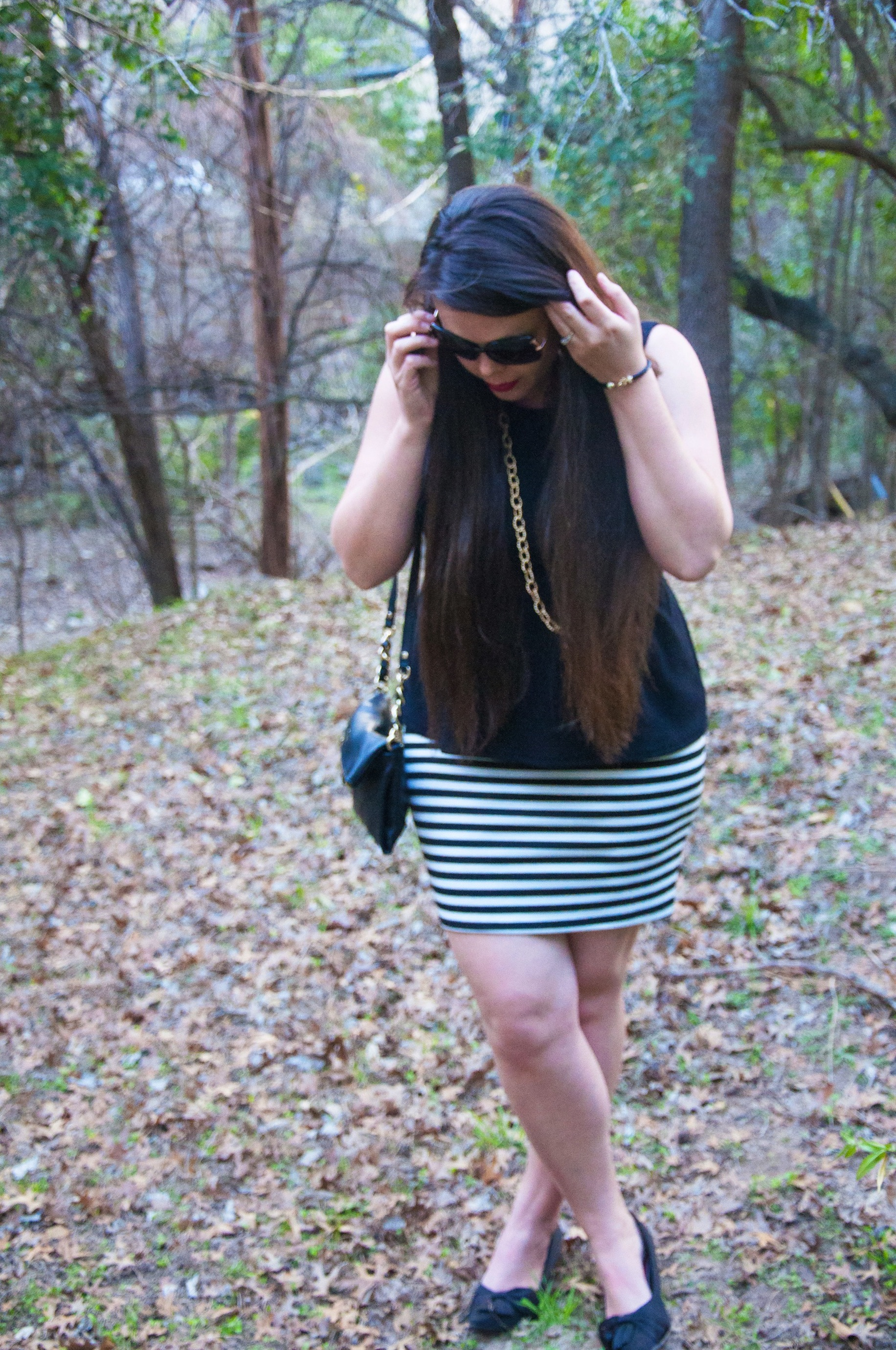 Black and white striped skirt with black peplum and gold pops