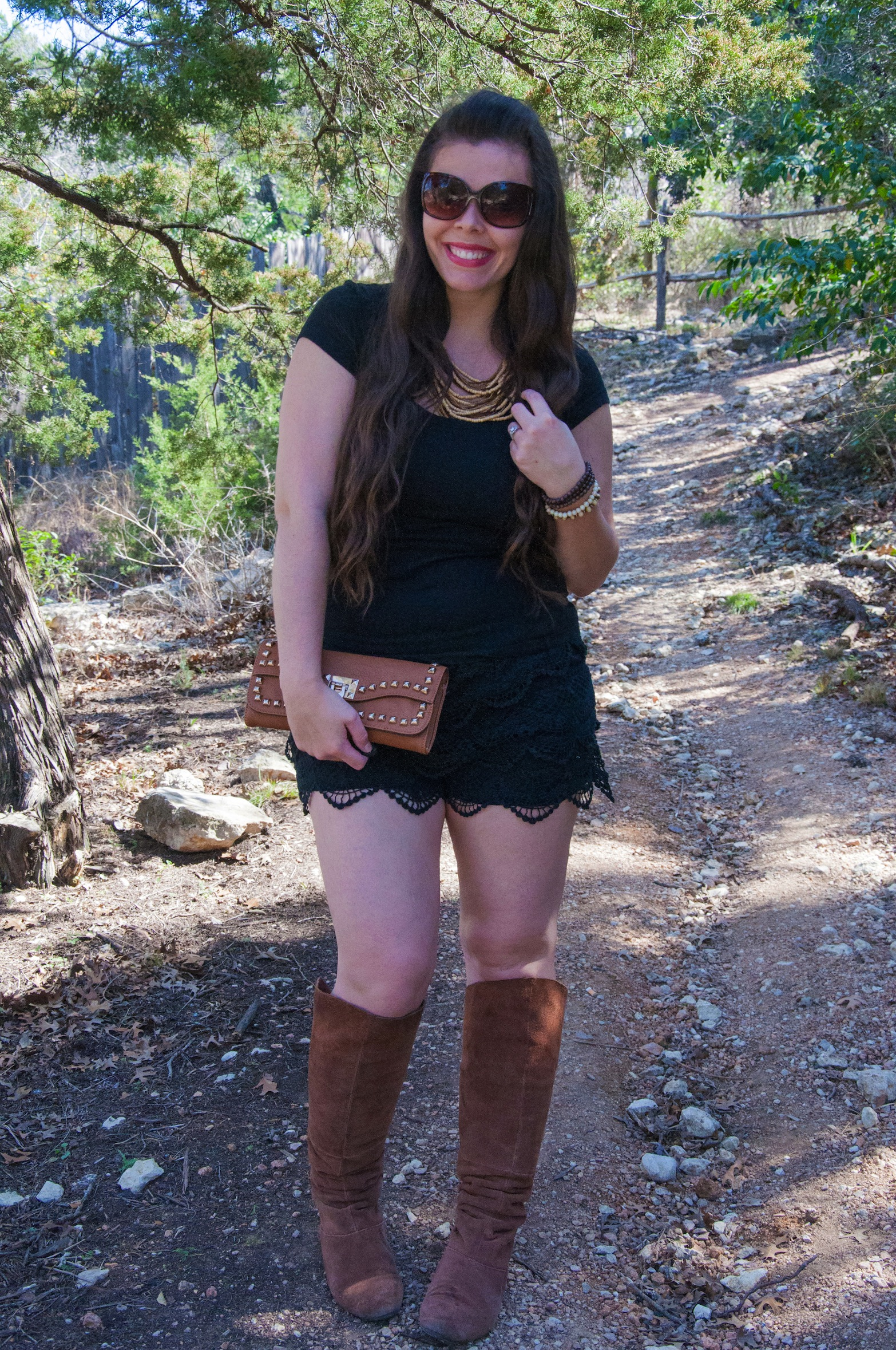 Black outfit with cognac accents
