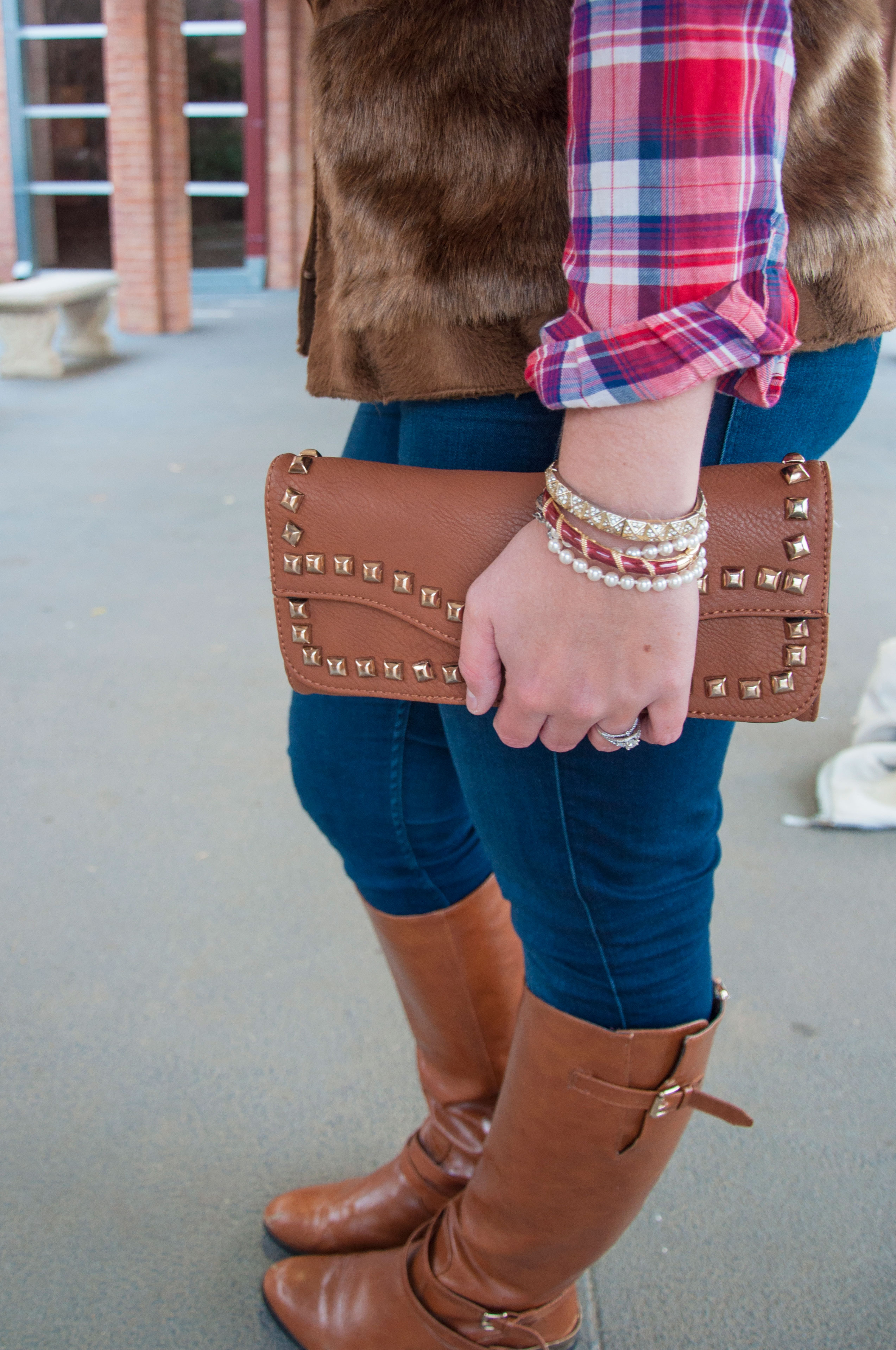 Camel boots and clutch with plaid and fur