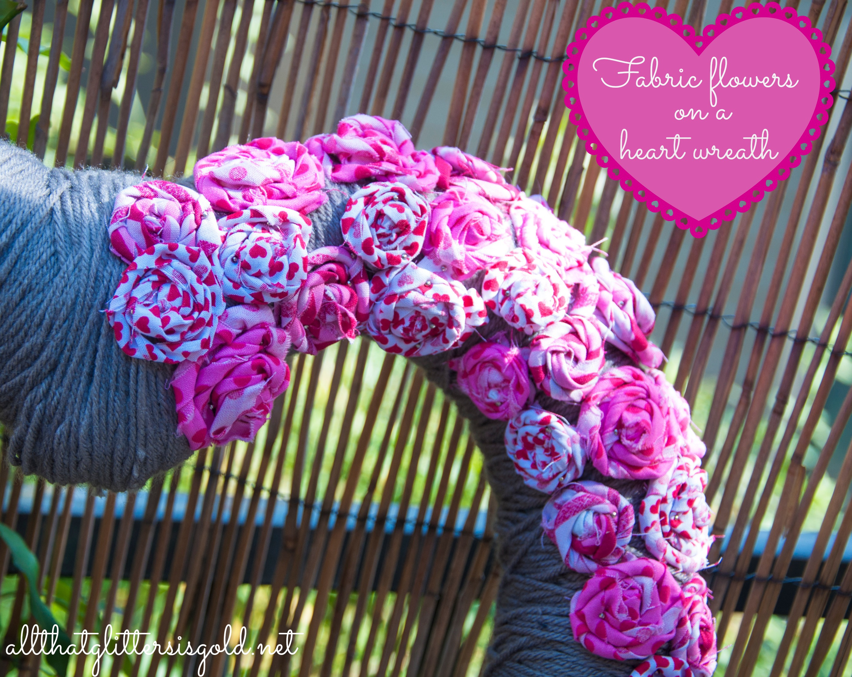 Fabric Flowers on heart wreath