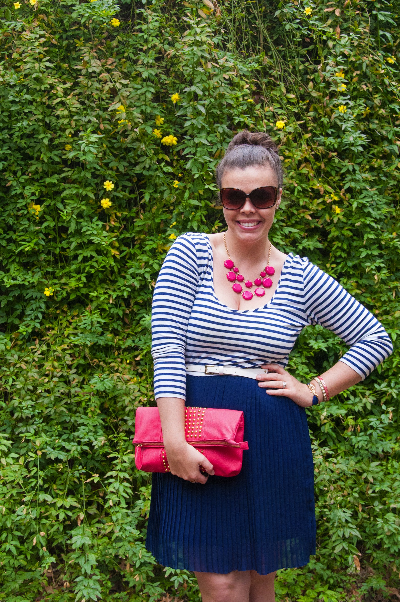 Navy striped dress with pink accents