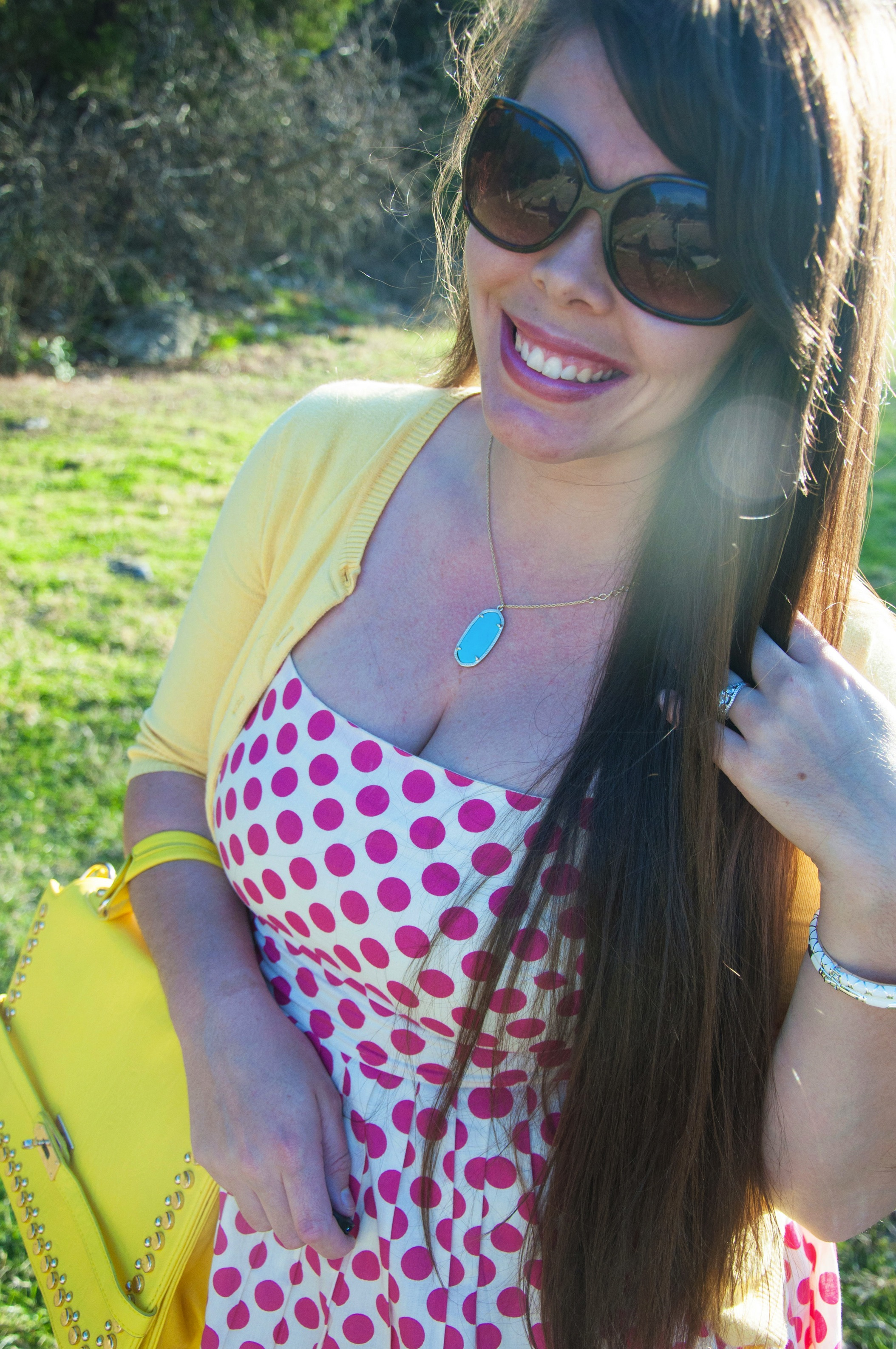 Pink Polka dots and Kendra Scott necklace