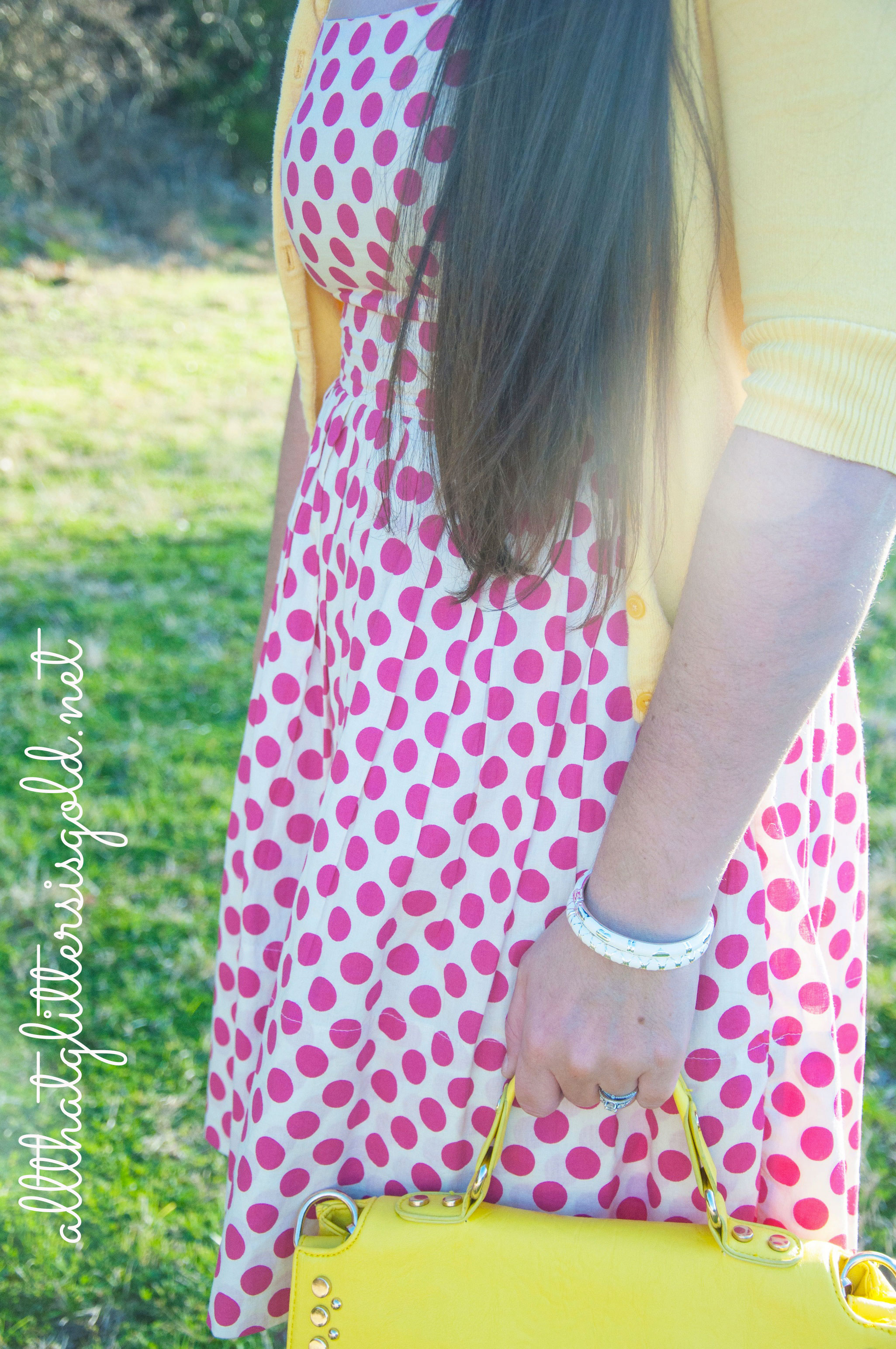 Pink polka dots and Yellow