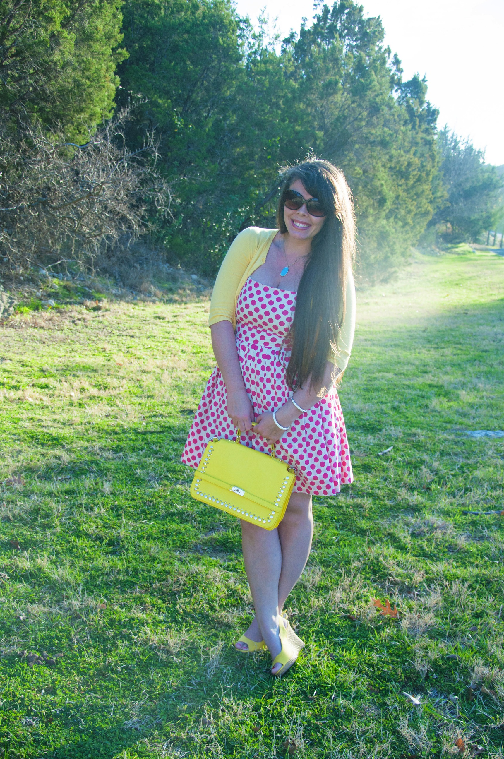 Pink polka dots with a pop of yellow