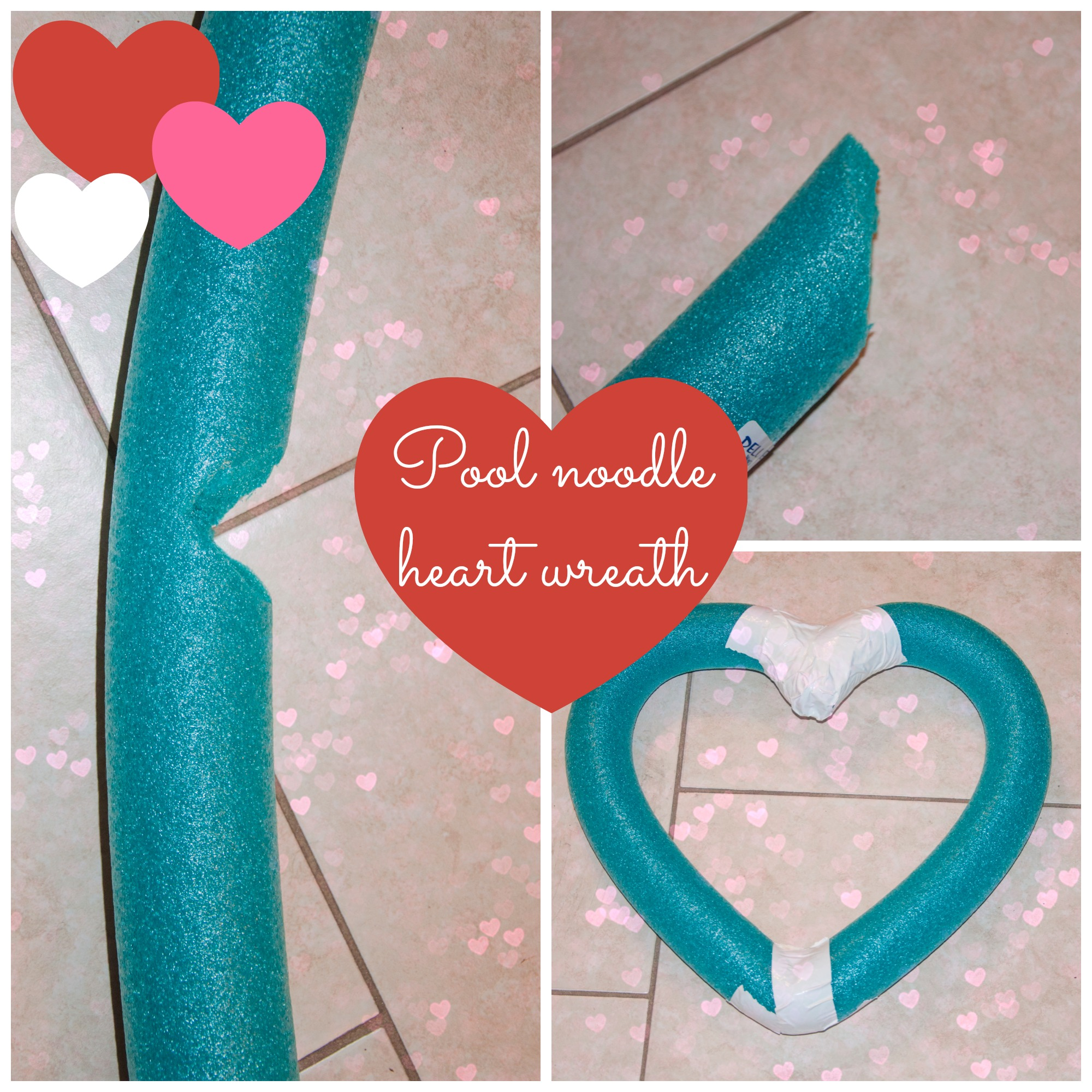 Pool Noodle Heart Wreath