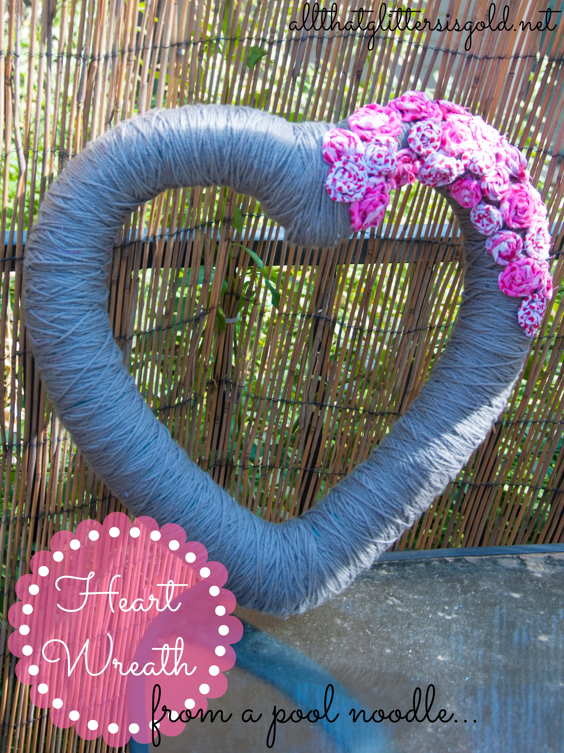 heart wreath from a pool noodle