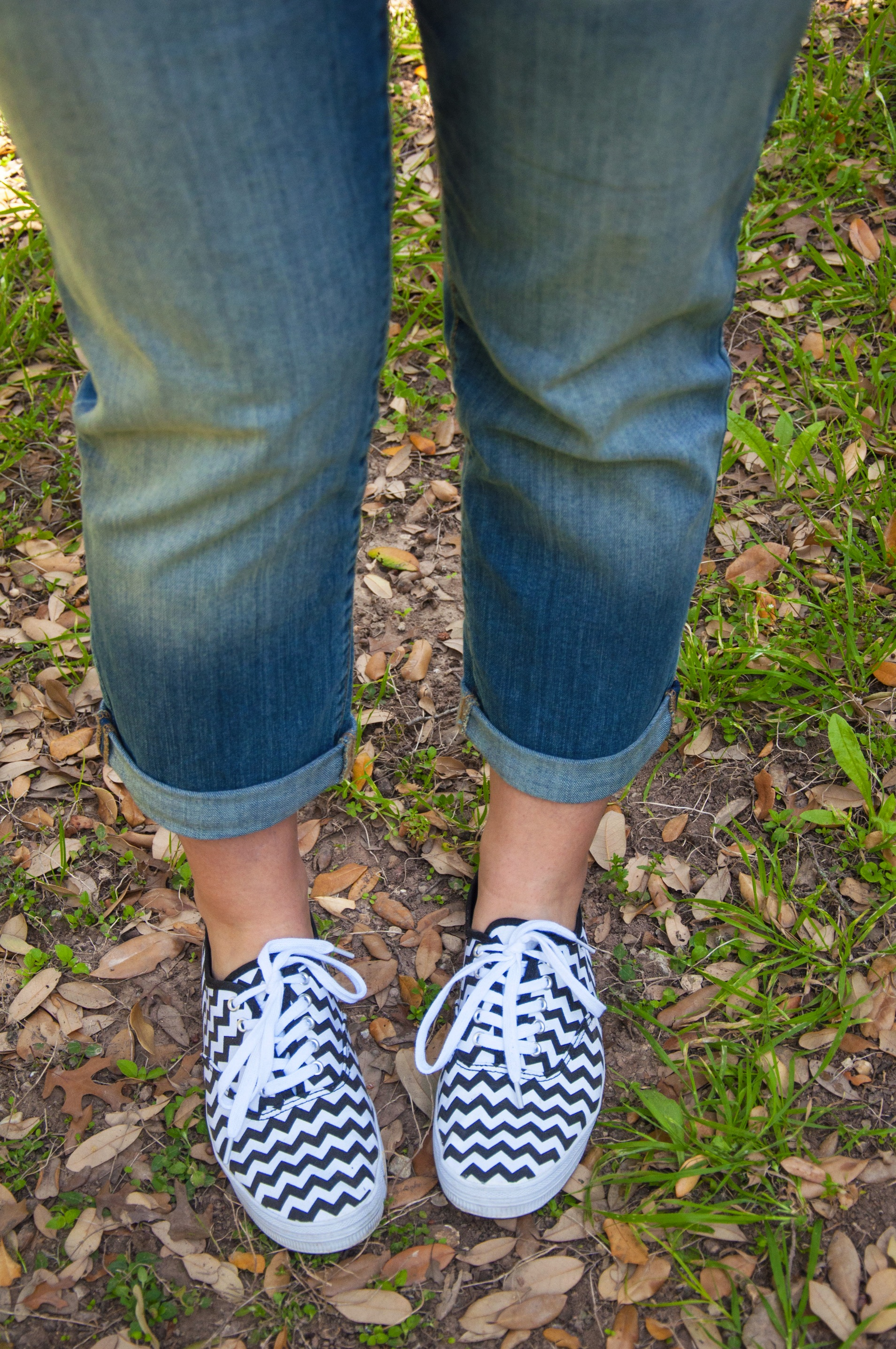 Black and white chevron Keds