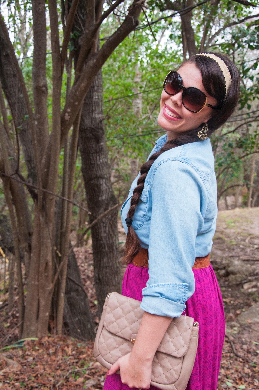 Chambray shirt with magenta skirt