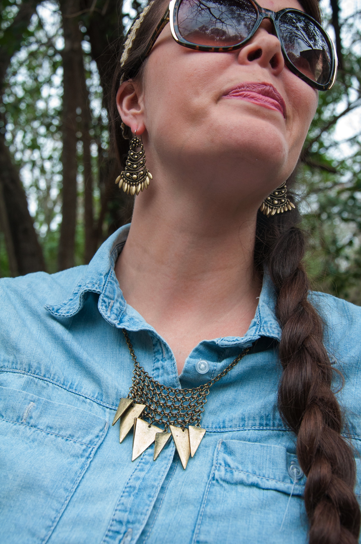 Chambray with bronze jewelery