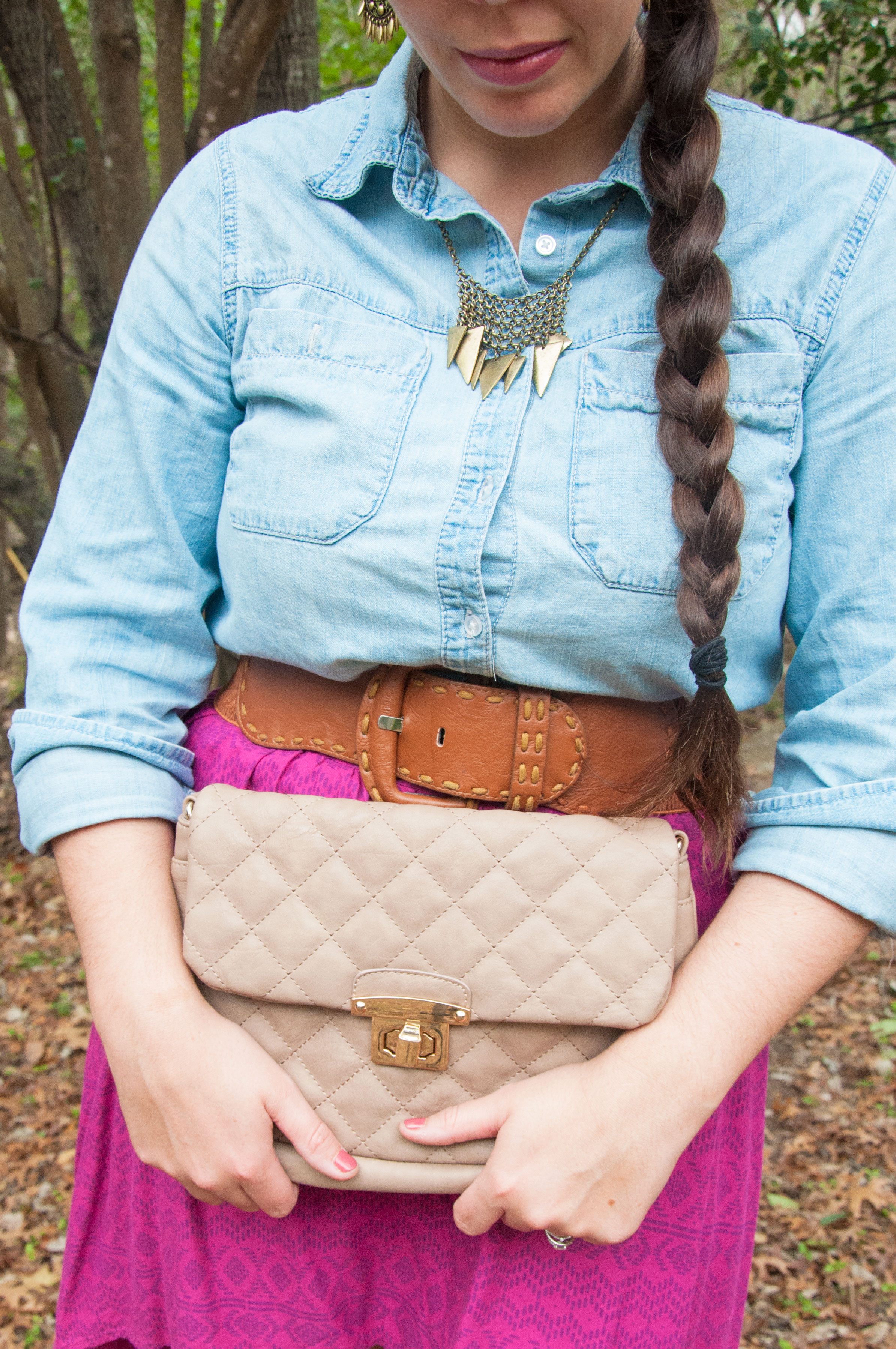 Chambray with pink and tan