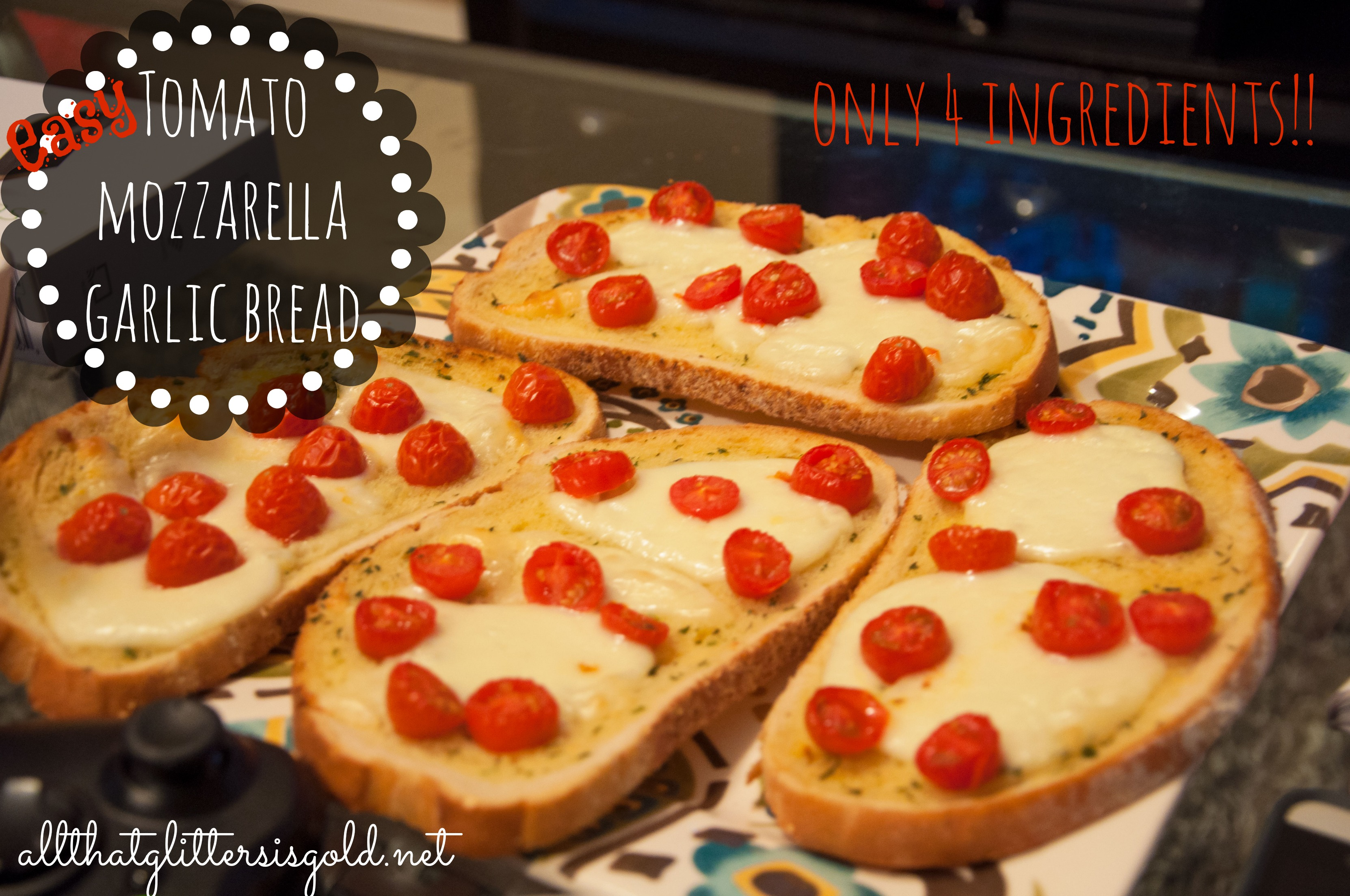 Easy Tomato Mozzarella Garlic Bread