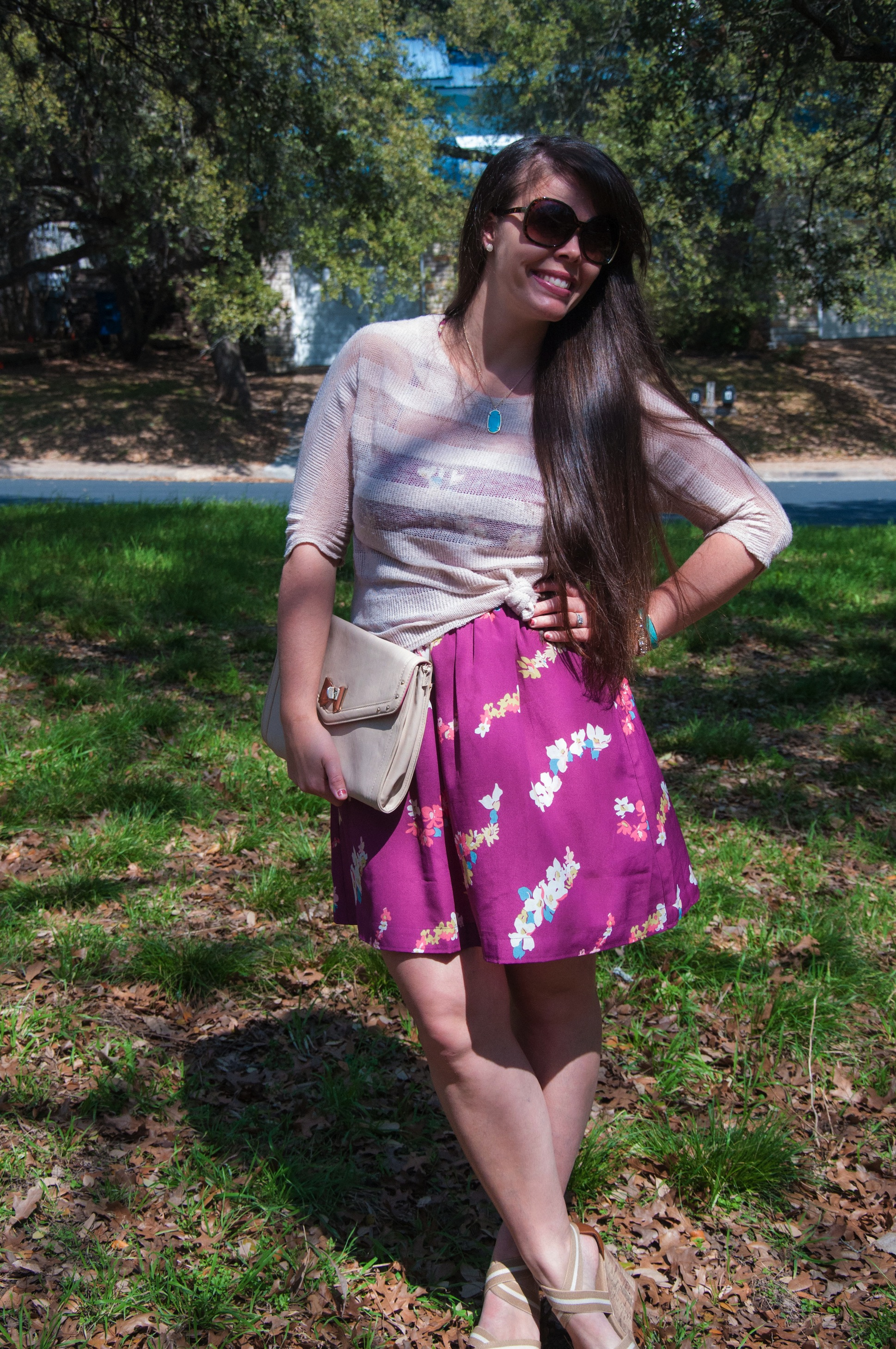 Floral sundress with nude wedges and a tan sweater